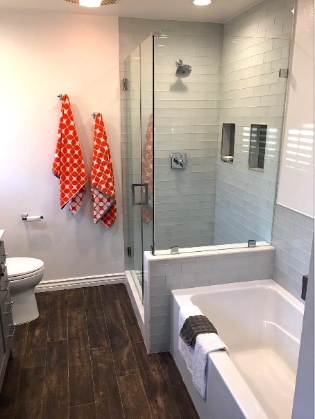 Bathroom Remodeling, Pop of Orange - EOL BuBathroom Remodeling, Pop of Orange - EOL