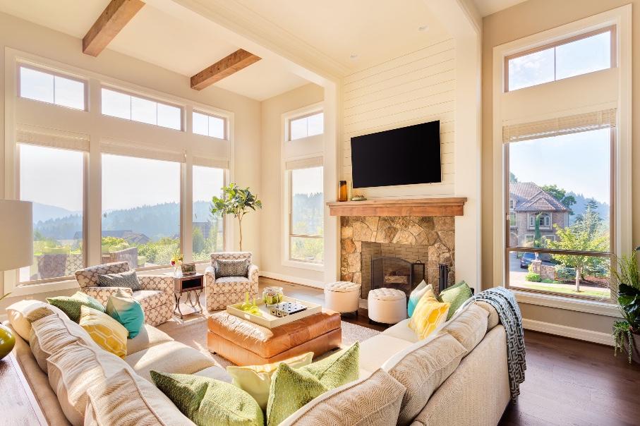 big window living room design  eol builders  home